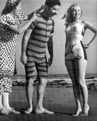 Marilyn Monroe by Joseph Jasgur (wearing the same bikini that Berniece was wearing in the picture of them with Gladys on the beach)