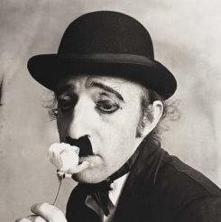 Woody Allen as Charlie Chaplin -New York 1972 by Irving Penn