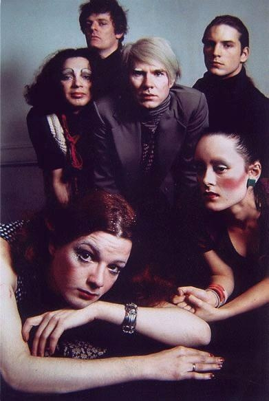 At the Factory: Andy Warhol, Jackie Curtis, Holly Woodlawn, Paul Morrissey, Joe Dallesandro & Jane Forth.