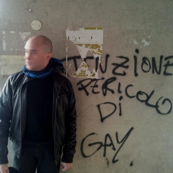 Francesco Paolo Catalano @ Università degli studi di Palermo, 2013 Attenzione pericolo di gay (Attention Gay Dangerous - on the wall)