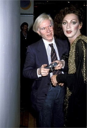 Andy Warhol and Holly Woodlawn during Fiorucci Disco Party at Fiorucci Boutique in New York City, New York, United States. (Photo by Ron Galella/WireImage)